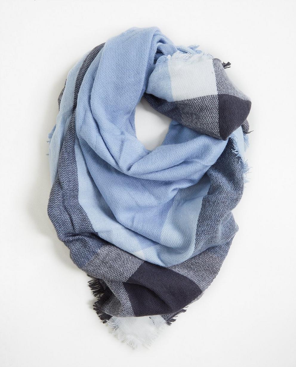 Sjaal met blokstrepen - in lichtblauw - JBC